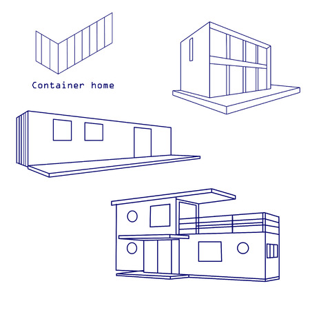 container house vector  isolated