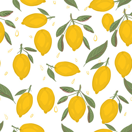 Fresh lemons background. Hand drawn overlapping backdrop. Colorful wallpaper vector. Seamless pattern with citrus fruits collection. Decorative illustration, good for printing Illustration