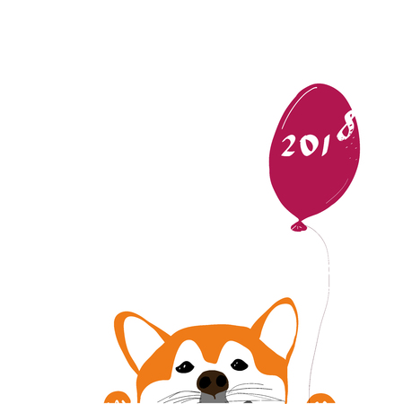 Vector Illustration Portrait of Shiba Inu Puppy with balloon 2018. Year od Dog. Dog isolated 写真素材