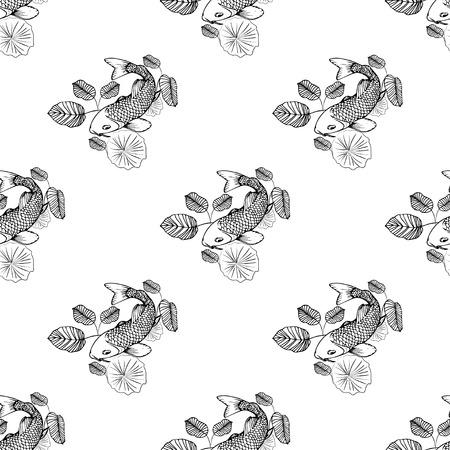 hand drown koi fish vector illustration seamless pattern