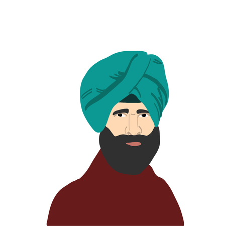 Indian sikh man in turban standing near drum and sugarcane. Vector Çizim