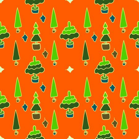 Christmas or New year seamless  pattern of stripes and stylized trees . Design element for festive banner, card, invitation, postcard. Vector illustration.