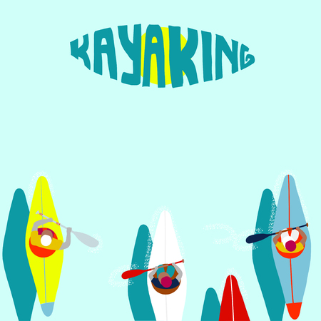 Kayaking Man Vector. Rafting. Vest Jacket, Paddle Oar, Kayak Boat. Kayaking Water Sport. Flat Cartoon Illustration rowing first-person. Beautiful cartoon. rowing outdoor fun. kayaking with lettering Banco de Imagens - 108458744