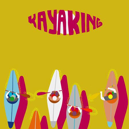 Kayaking Man Vector. Rafting. Vest Jacket, Paddle Oar, Kayak Boat. Kayaking Water Sport. Flat Cartoon Illustration rowing first-person. Beautiful cartoon. rowing outdoor fun. kayaking with lettering