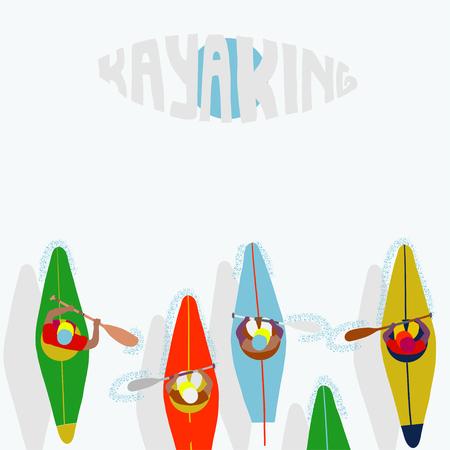 Kayaking Man Vector. Rafting. Vest Jacket, Paddle Oar, Kayak Boat. Kayaking Water Sport. Flat Cartoon Illustration rowing first-person. Beautiful cartoon. rowing outdoor fun. kayaking with lettering Banco de Imagens - 108458751