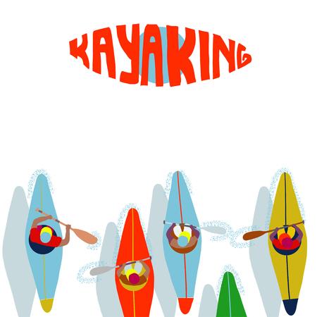 Kayaking Man Vector. Rafting. Vest Jacket, Paddle Oar, Kayak Boat. Kayaking Water Sport. Flat Cartoon Illustration rowing first-person. Beautiful cartoon. rowing outdoor fun. kayaking with lettering Banco de Imagens - 108458752