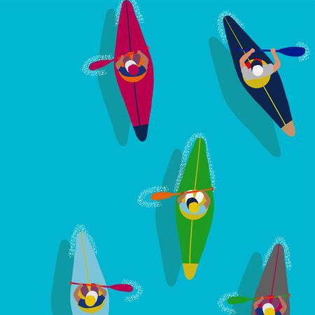 Vector de hombre en kayak. Canotaje. Chaqueta de chaleco, remo de remo, bote de kayak. Deporte acuático en kayak. Ilustración de dibujos animados plana remando en primera persona. Hermosa caricatura. remando diversión al aire libre. kayak con letras