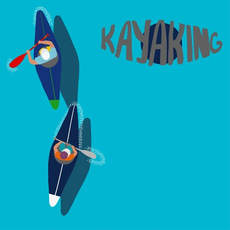 Kayaking Man Vector. Rafting. Vest Jacket, Paddle Oar, Kayak Boat. Kayaking Water Sport. Flat Cartoon Illustration rowing first-person. Beautiful cartoon. rowing outdoor fun. kayaking with lettering Banco de Imagens - 108458758