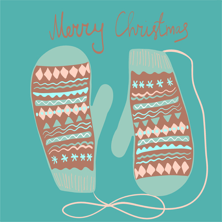 Winter mittens set in soft vintage colors. Vector illustration.Christmas greeting card