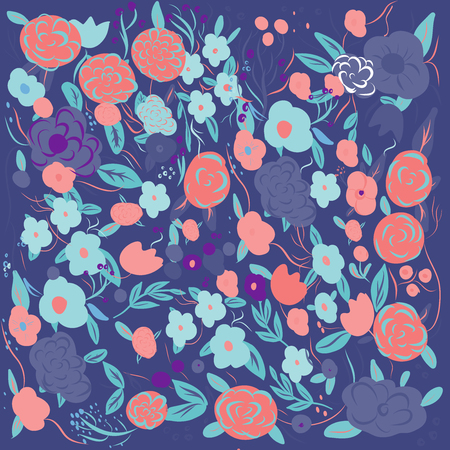 Seamless ditsy floral pattern with bright colorful flowers and leaves on black background in naive folk style. Summer template for fashion prints in vector. 일러스트
