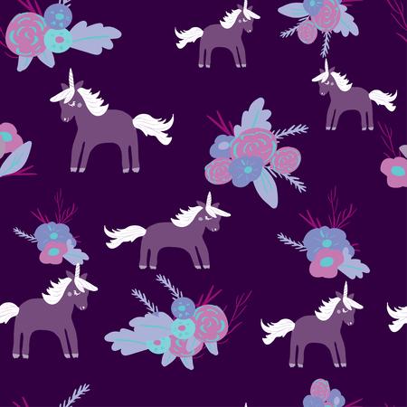 Cute magic Unicorns on a floral background. Seamless pattern 일러스트