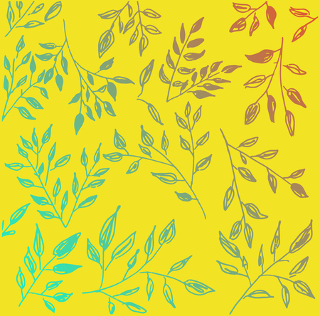 hand drawn floral  and twig pattern vector