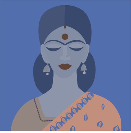 Vector  illustration of Indian woman  in traditional clothes sari and dupatta