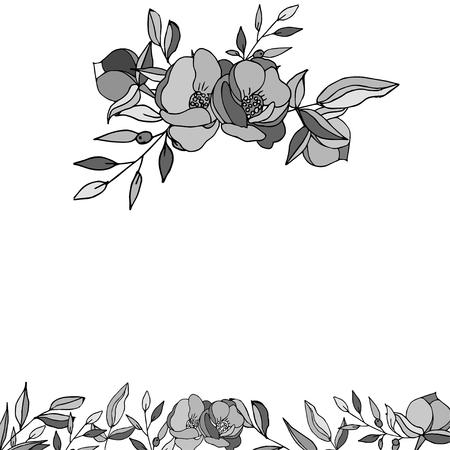 Illustration with peony flower isolated on white background