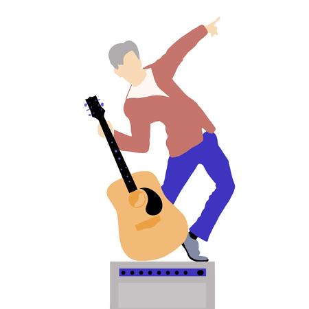 Guitarra hombre moderno estilo plano en combo vectior ilustración