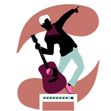 Guitar man modern flat style at combo vectior illustration