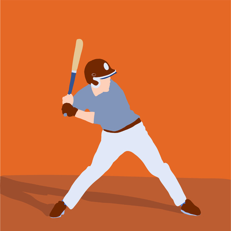 baseball player better on field. Vector flat illustration 일러스트