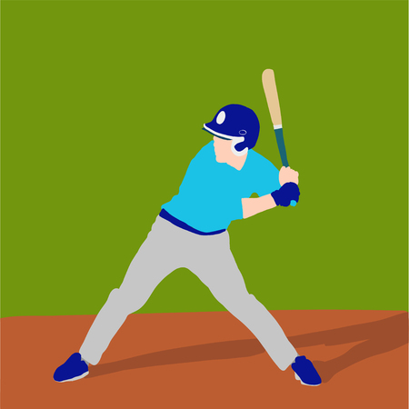 baseball player better on field. Vector flat illustration 스톡 콘텐츠 - 120981726