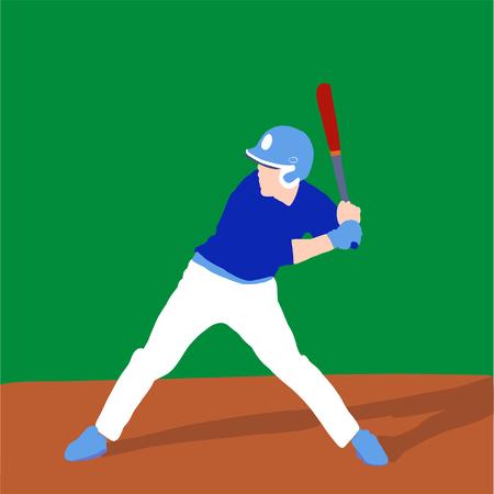 baseball player better on field. Vector flat illustration 스톡 콘텐츠 - 120981732