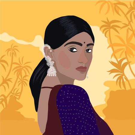 Ilustración de vector de mujer india en ropa tradicional sari y dupatta