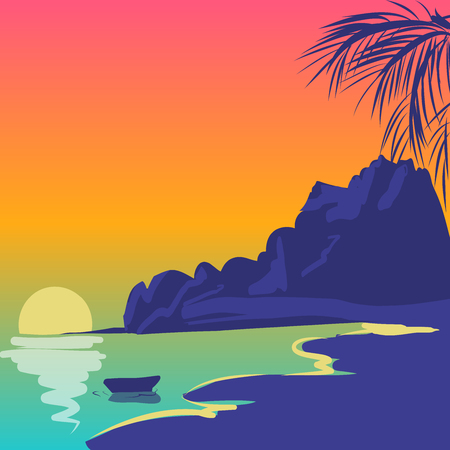 Tropical landscape with wave, trees, sand. Holiday vector illustration