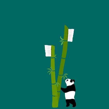 Bamboo toothbrush wih panda zero waste concept vector illustration Çizim