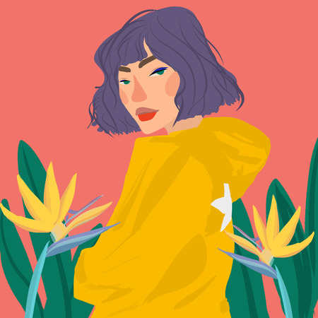 portrait style  girl young women fashion with plants vector illustration