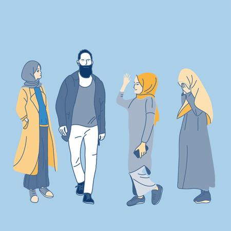 muslim people, woman, girls and man vector illustration