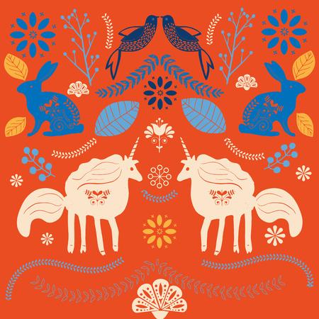 Scandinavian folk art pattern with birds and flowers Vektoros illusztráció