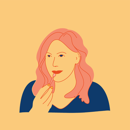 hand drawn girl flat pop art design style vector illustration Иллюстрация