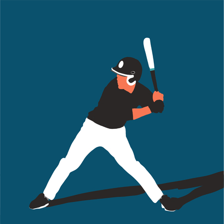 baseball player better on field. Vector flat illustration 스톡 콘텐츠 - 120981914