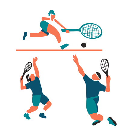 vector illustration of a player tennis on the court
