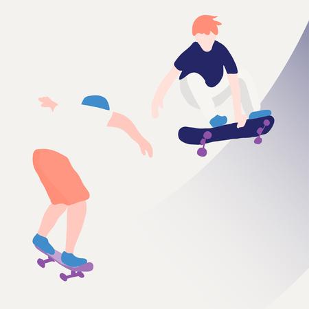 Stijlvolle skater in jeans en sneakers. Skateboard. Vectorillustratie voor een ansichtkaart of een poster, print voor kleding. Straatculturen. Vector Illustratie