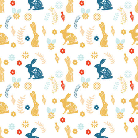 Scandinavian folk art pattern with birds and flowers