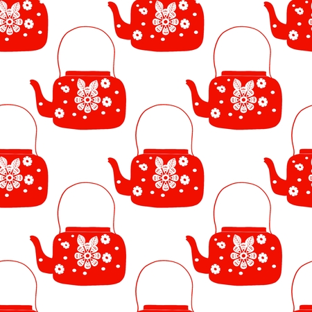 folk art tea pot with flower block print illustration  イラスト・ベクター素材