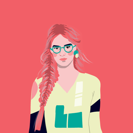 portrait style  girl young women fashion with plants illustration Stock Illustratie