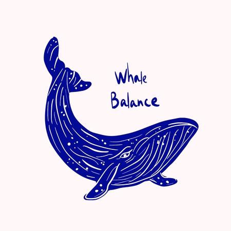 Aquitaine marina blue whale sea life illustration