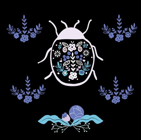 folk art bug with floral element ornament Scandinavian style 일러스트