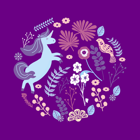 Cute magic Unicorns on a floral background. Vector  Romantic hand drawing illustration