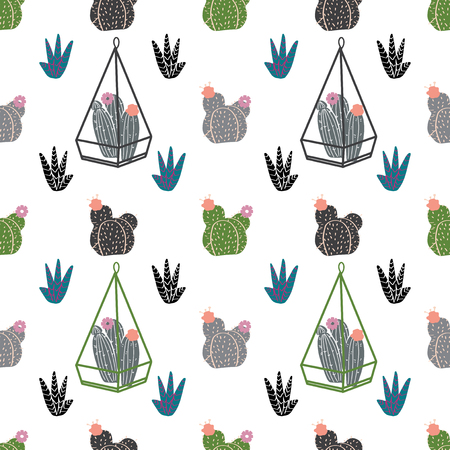 Home decor in modern Scandic style. succulents, cactuses and other plants growing in florariums