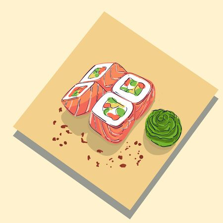 Sushi rolls traditional seaweed fresh raw food. Asia cuisine restaurant delicious. Sushi roll with salmon, smoked eel, selective food vector.