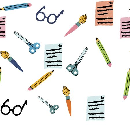 Back to school with school items and elements. vector banner design. Ilustração