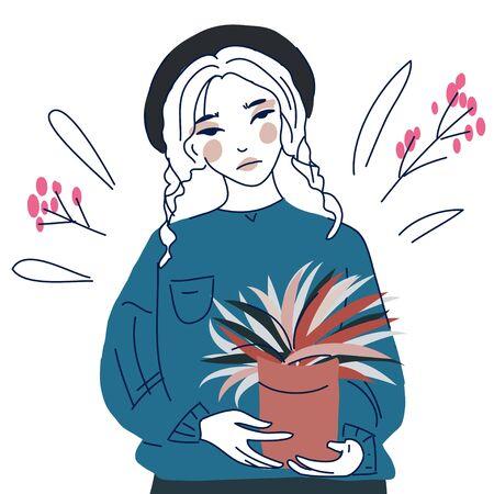 girl gardening  planting flowers in the garden  イラスト・ベクター素材