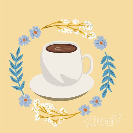 folk art tea pot with flower block print vector illustration