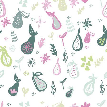 Pear vector drawing. Isolated hand drawn full pear. Иллюстрация