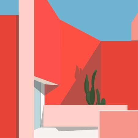 flat cityscape illustration vector Иллюстрация