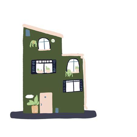 small tiny house.  Flat design. Hand drawn trendy illustration.