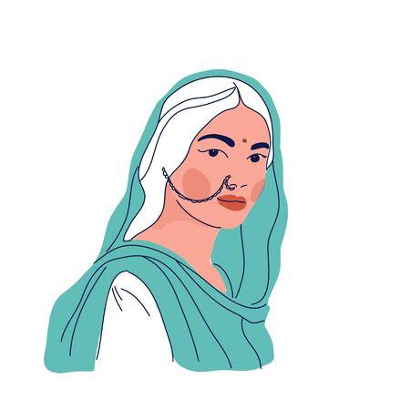 Ilustración de vector de mujer india en ropa tradicional sari y dupatta Ilustración de vector
