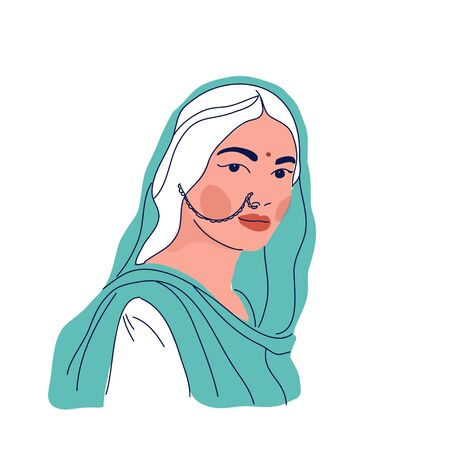 Vector illustration of Indian woman in traditional clothes sari and dupatta Vector Illustratie