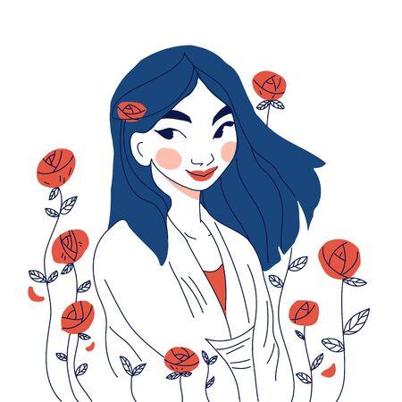 Flat girl long hair outdoor vector illustration Ilustração